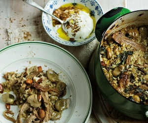 Tom Hunt's broad bean and lamb pilaf with seasoned yoghurt