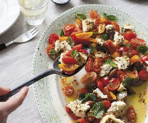 Anna Jones' traffic light tomatoes with oven-roasted feta