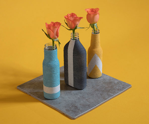 Our string vases, made from unwanted bottles and string