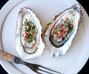 Morecambe Bay oysters with chilli vinegar at Westerns Laundry. Photography by Patricia Niven