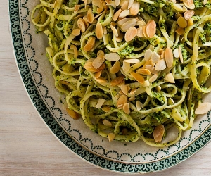 A recipe for almond and courgette pesto linguine from The Silver Spoon's Naples and the Amalfi Coast; photography Simon Bajada