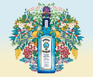A bottle of Bombay Sapphire gin