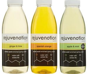 Bottles of Rejuvenation water amino acid-enriched drink