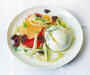 Make Diana Henry's burrata with citrus, fennel and olives; photograph by Laura Edwards