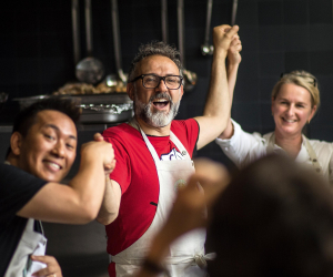 Massimo Bottura in the kitchen at the launch of one of his soup kitchens. Photograph by Simon John Owen