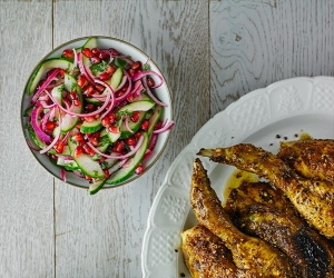 Alexandra Dudley's Persian peanut chicken with crunchy cabbage slaw; Photograph by Andrew Burton