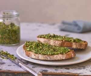 Alexandra Dudley's poorman's pesto on toast; Photograph by Andrew Burton