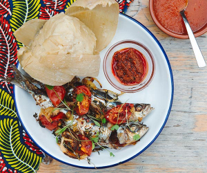 Sardine with kenkey at Zoe's Ghana Kitchen. Photograph by Camille Mack.