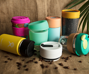 7 reusable coffee cups; Photograph: Nicola Poulos