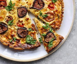 Fig, feta and almond tart