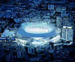 An evening shot of The Tottenham Hotspur Stadium