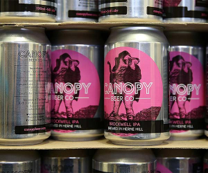 Cans of Brockwell IPA at Canopy Beer Co in Herne Hill, London