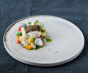 Simon Hulstone's Norwegian cod with clams; photograph by Matt Austin
