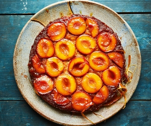Faiza Hayani Bellili's caramelised plum upside-down cake; photograph by Jenny Zarins