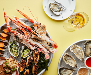 Seafood platter and kumamoto, wild blackwater and Morecambe-bay oysters-with dashi; photograph by Steven Joyce