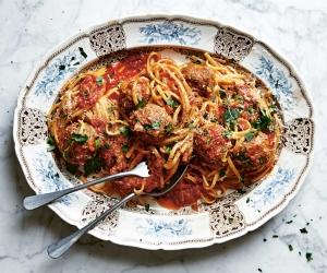 Caroline Eden's Italian street polpette pasta; photograph by Ola O. Smit