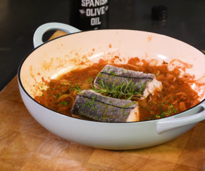 José Pizarro's herb-crusted Norwegian haddock with spicy tomato sauce