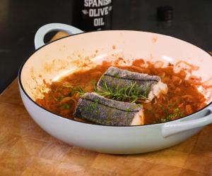 José Pizarro's herb-crusted Norwegian haddock with spicy tomato sauce