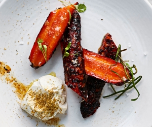 Burnt carrots at Mortimer House Kitchen; photography by Steven Joyce