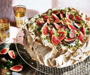 Sabrina Ghayour's cinnamon pavlova with sweet labneh cream; photography by Kris Kirkham