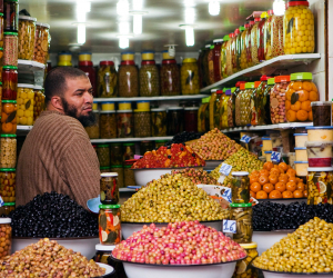 Olive stalls in Marrakech; Photography by Huw Jones / Getty