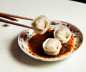 Make Xu's boiled mushroom dumplings with red chilli oil