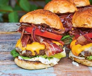Make DJ BBQ's DJ BBQ burger; photography by David Loftus