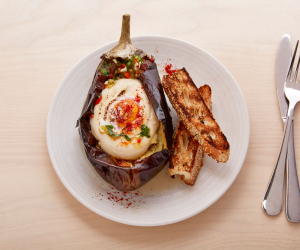 Honey & Smoke: aubergine with tahini and burnt egg yolk. Patricia Niven