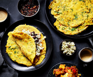 Spiced crêpes with coconut chutney and sweet onion chutney; photography by Kris Kirkham.