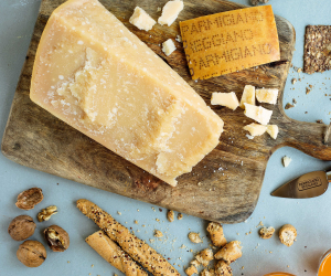 Parmigiano Reggiano on a cheeseboard